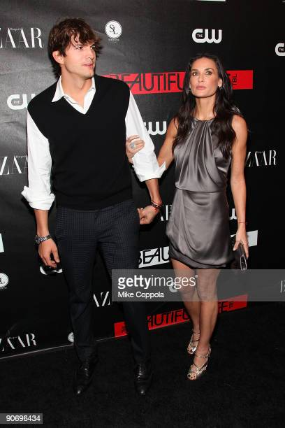 Actors Ashton Kutcher and Demi Moore attendThe CW's The Beautiful Life TBL series premiere at Simyone Lounge on September 12 2009 in New York City