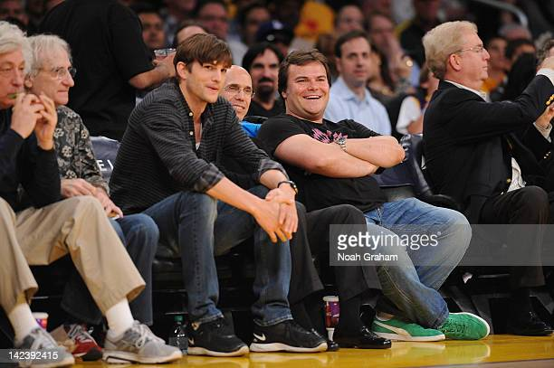 Actors Ashton Kutcher and Jack Black attend a game between the New Jersey Nets and the Los Angeles Lakers at Staples Center on April 3 2012 in Los...