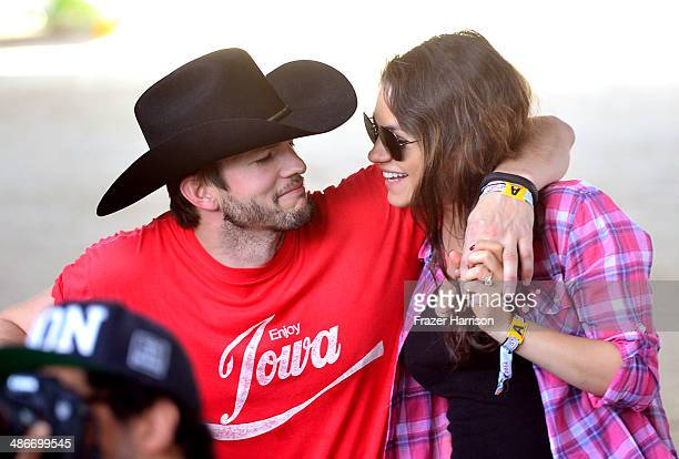 Actors Ashton Kutcher and Mila Kunis attend day 1 of 2014 Stagecoach: California's Country Music Festival at the Empire Polo Club on April 25, 2014...