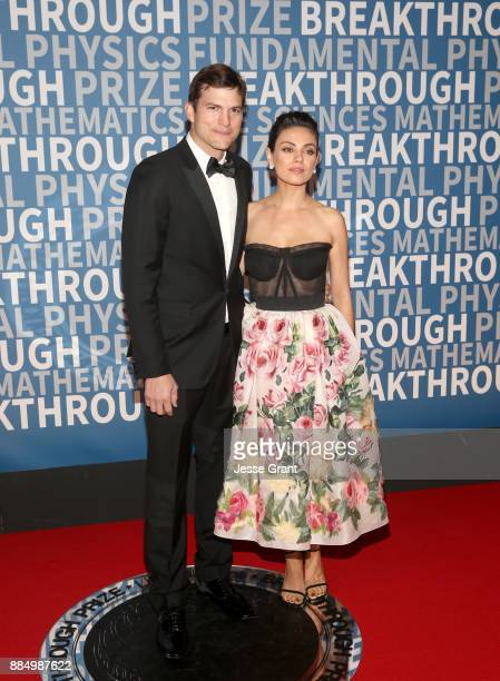 Actors Ashton Kutcher and Mila Kunis attend the 2018 Breakthrough Prize at NASA Ames Research Center on December 3 2017 in Mountain View California