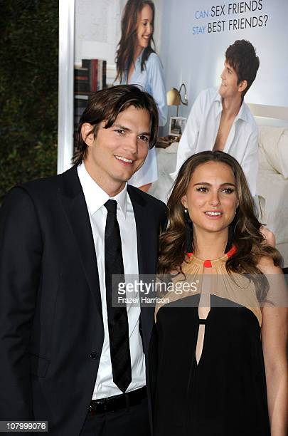Actors Ashton Kutcher and Natalie Portman arrives at Paramount Pictures' 'No Strings Attached' premiere at Regency Village Theater on on January 11...