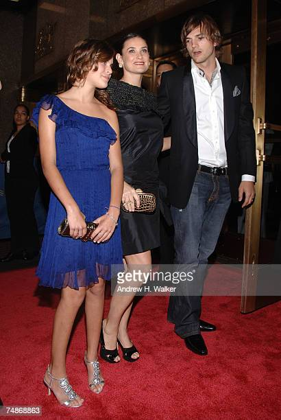 Actors Ashton Kutcher Demi Moore and her daughter Tallulah Willis attend the premiere of Live Free Or Die Hard presented by Twentieth Century Fox at...