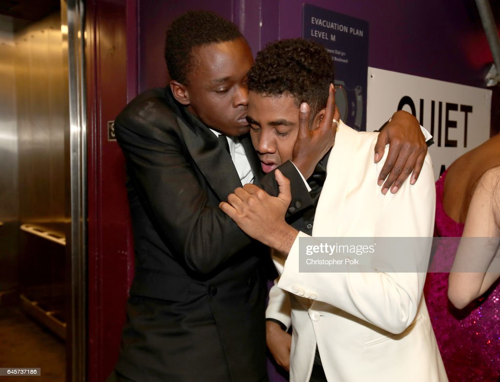 Actors Ashton Sanders (L) and Jharrel Jerome backstage during the 89th Annual Academy Awards at Hollywood & Highland Center on February 26, 2017 in Hollywood, California.