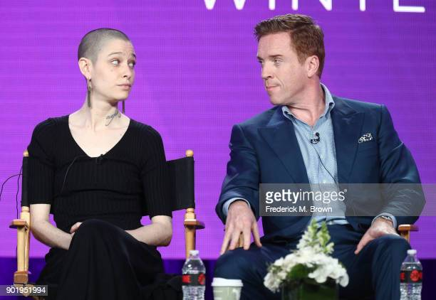 Actors Asia Kate Dillon and Damian Lewis of the television show BILLIONS speak onstage during the CBS/Showtime portion of the 2018 Winter Television...