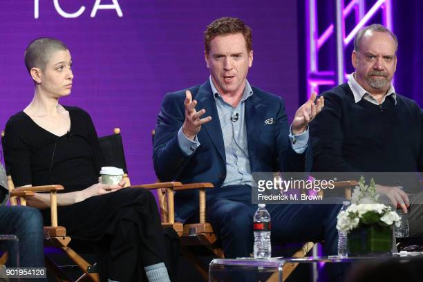 Actors Asia Kate Dillon Damian Lewis and Paul Giamatti of the television show BILLIONS speak onstage during the CBS/Showtime portion of the 2018...