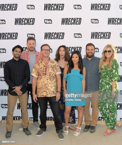 Actors Asif Ali Zach Cregger Will McLaughlin Brooke Dillman Ally Maki Brian Sacca and Jessica Lowe at the Wrecked Press Influencer Event on June 15...