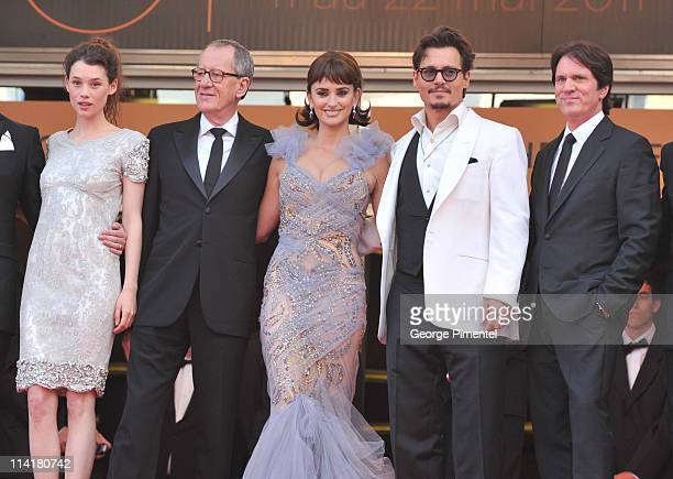 Actors Astrid BergesFrisbey Geoffrey Rush Penelope Cruz Johnny Depp and director Rob Marshall attends the 'Pirates of the Caribbean On Stranger...