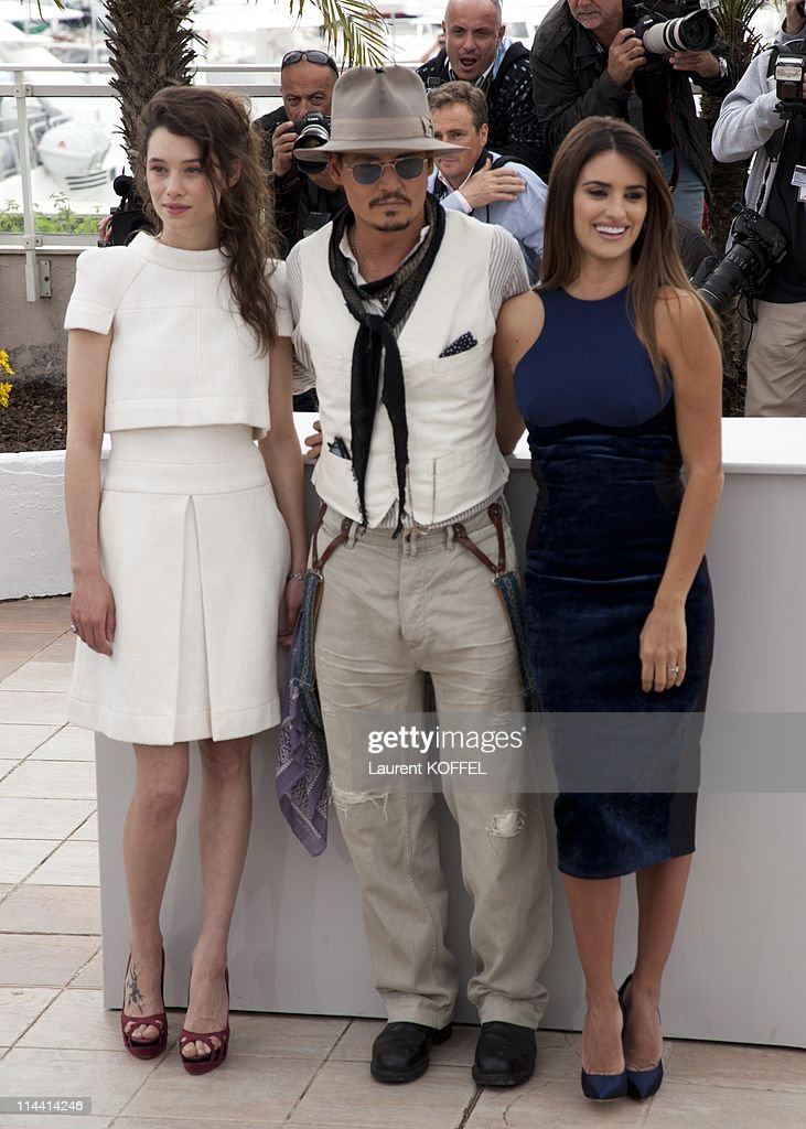 Actors Astrid Berges-Frisbey, Johnny Depp and Penelope Cruz attend the 'Pirates of the Caribbean: On Stranger Tides' Photocall during the 64th Annual Cannes Film Festival at Palais des Festivals on May 14, 2011 in Cannes, France.