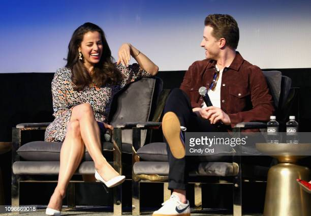 Actors Athena Karkanis and Josh Dallas speak onstage at the Manifest screening during SCAD aTVfest at SCADshow on February 9 2019 in Atlanta Georgia