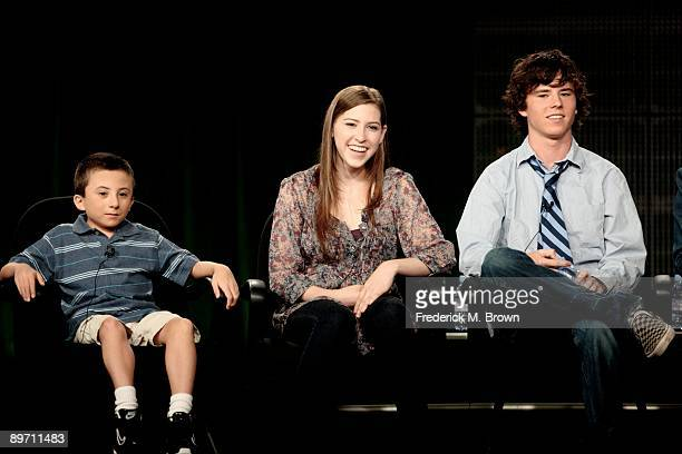 Actors Atticus Shaffer Eden Sher and Charlie McDermott of the television show 'The Middle' speak during the ABC Network portion of the 2009 Summer...
