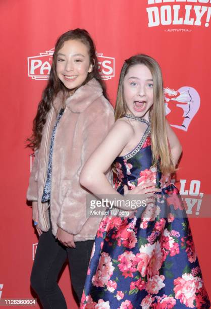 Actors Aubrey AndersonEmmons and Kitana Turnbull attend the Los Angeles premiere of the musical Hello Dolly at the Pantages Theatre on January 30...