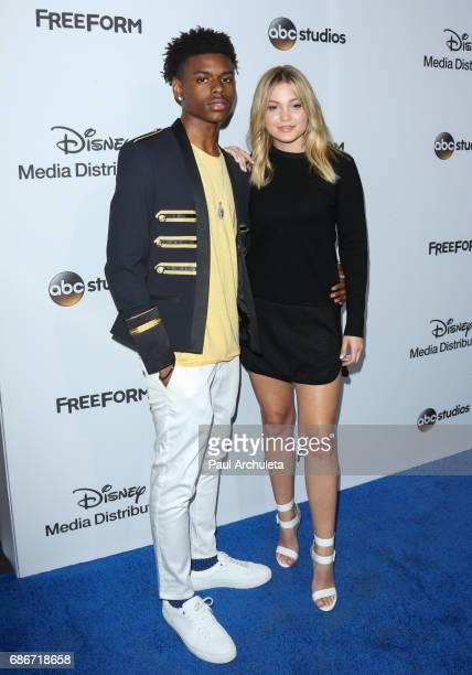 Actors Aubrey Joseph and Olivia Holt attend the 2017 ABC/Disney Media Distribution International Upfront at Walt Disney Studio Lot on May 21 2017 in...