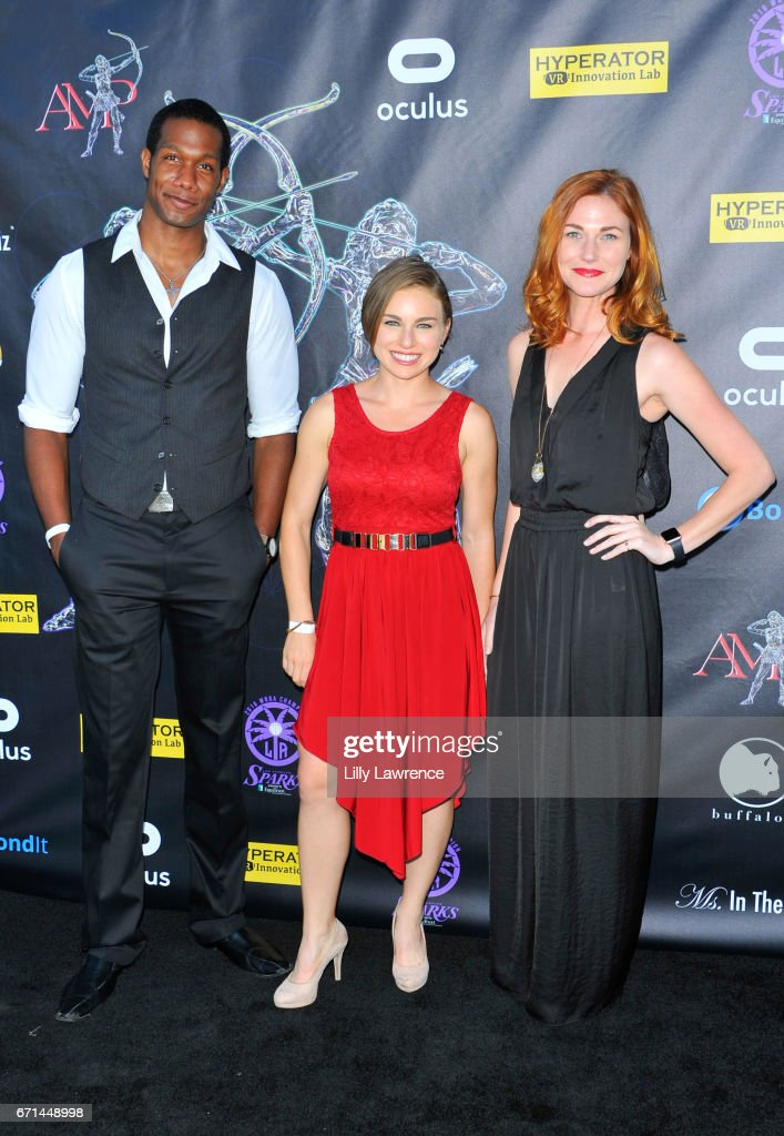 Actors Aubrey Marquez, Elise Zel, and Erin Breen attend Artemis Women In Action Film Festival at Laemmle's Ahrya Fine Arts Theatre on April 20, 2017 in Beverly Hills, California.