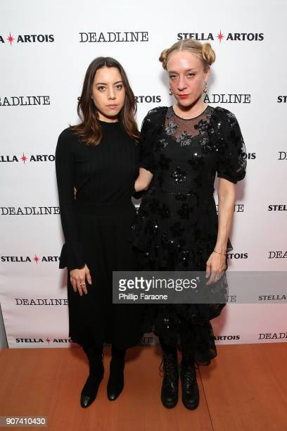 Actors Aubrey Plaza and Chloe Sevigny attend the Lizzie cast party in Cafe Artois during the Sundance Film Festival on January 19 2018 in Park City...