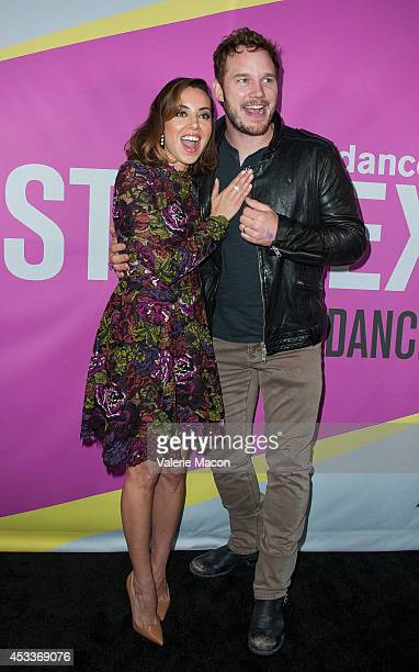 Actors Aubrey Plaza and Chris Pratt arrive at Sundance NextFest Film Festival Premiere Of Life After Beth at The Theatre At The Ace Hotel on August 8...