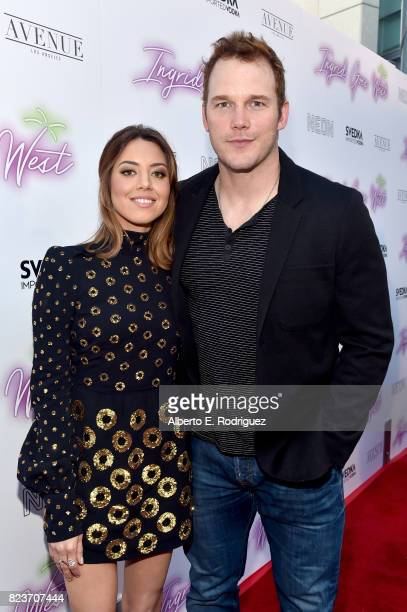 Actors Aubrey Plaza and Chris Pratt at the premiere of Neon's Ingrid Goes West at ArcLight Hollywood on July 27 2017 in Hollywood California