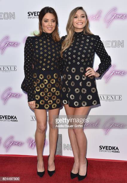 Actors Aubrey Plaza and Elizabeth Olsen arrive at the Los Angeles premiere of Neon's 'Ingrid Goes West' at ArcLight Hollywood on July 27 2017 in...