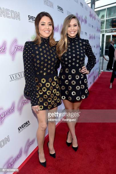 Actors Aubrey Plaza and Elizabeth Olsen at the premiere of Neon's Ingrid Goes West at ArcLight Hollywood on July 27 2017 in Hollywood California