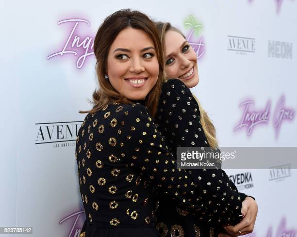 "Actors Aubrey Plaza and Elizabeth Olsen attend the Los Angeles Premiere of ""Ingrid Goes West"" presented by SVEDKA Vodka and Avenue Los Angeles at..."