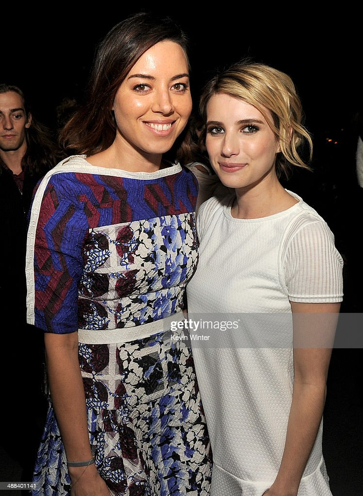 Actors Aubrey Plaza (L) and Emma Roberts pose at the after party for the premiere of Tribeca Film's 'Palo Alto' at the Chateau Marmont on May 5, 2014 in West Hollywood, California.
