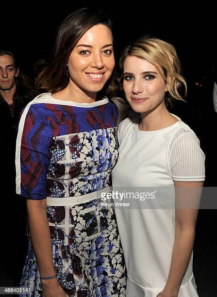 "Actors Aubrey Plaza and Emma Roberts pose at the after party for the premiere of Tribeca Film's ""Palo Alto"" at the Chateau Marmont on May 5, 2014 in..."