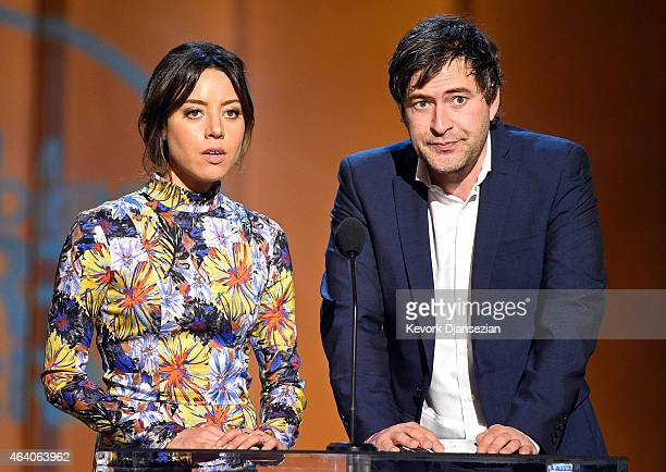 Actors Aubrey Plaza and Mark Duplass speak onstage during the 2015 Film Independent Spirit Awards at Santa Monica Beach on February 21 2015 in Santa...