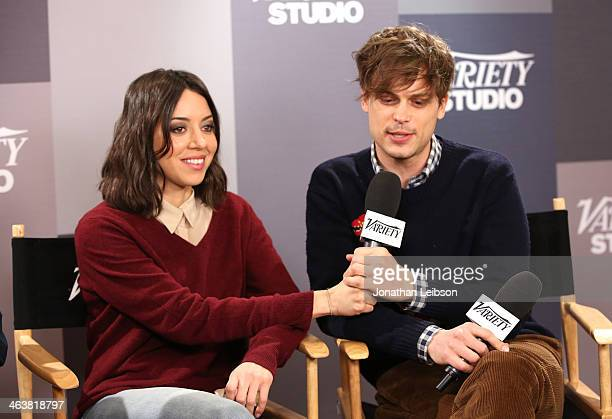 Actors Aubrey Plaza and Matthew Gray Gubler speak at The Variety Studio Sundance Edition Presented By Dawn Levy on January 19 2014 in Park City Utah