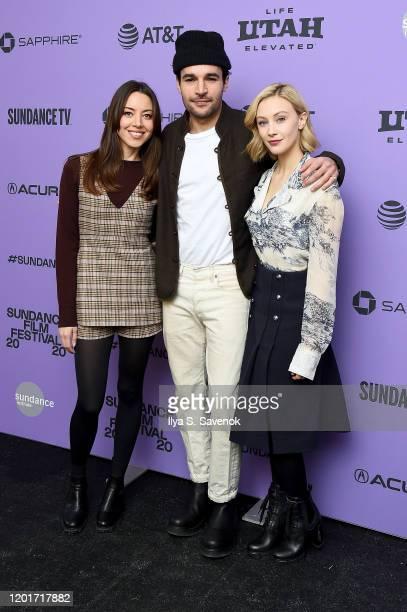 Actors Aubrey Plaza Christopher Abbott and Sarah Gadon attend the 2020 Sundance Film Festival Black Bear Premiere at Library Center Theater on...
