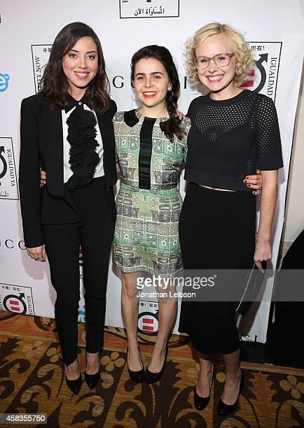 Actors Aubrey Plaza Mae Whitman and Alison Pill attend The Equality Now's 'Make Equality Reality' Event at Montage Beverly Hills on November 3 2014...