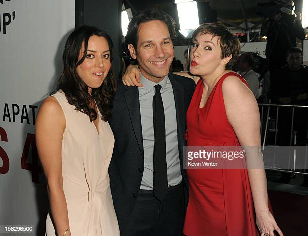 """Actors Aubrey Plaza, Paul Rudd and Lena Dunham attend the premiere of Universal Pictures' """"This Is 40"""" at Grauman's Chinese Theatre on December 12,..."""