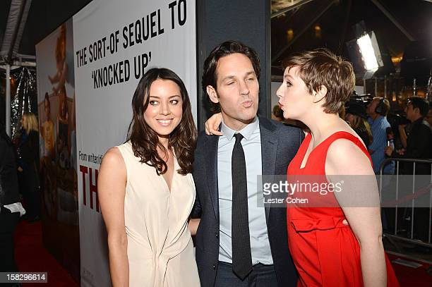 Actors Aubrey Plaza Paul Rudd and Lena Dunham attend This Is 40 Los Angeles Premiere Red Carpet at Grauman's Chinese Theatre on December 12 2012 in...