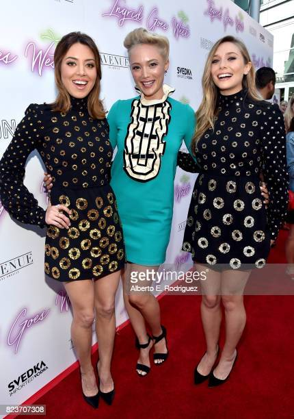 Actors Aubrey Plaza Pom Klementieff and Elizabeth Olsen at the premiere of Neon's Ingrid Goes West at ArcLight Hollywood on July 27 2017 in Hollywood...