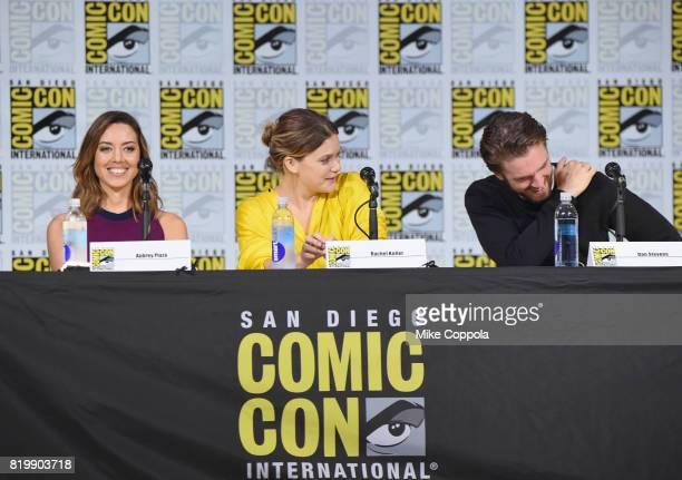Actors Aubrey Plaza Rachel Keller and Dan Stevens speak onstage at the Legion screening and QA during ComicCon International 2017 at San Diego...