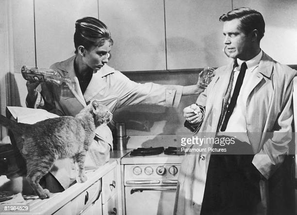 Actors Audrey Hepburn and George Peppard star as Holly Golightly and Paul Varjak in the film 'Breakfast at Tiffany's' 1961
