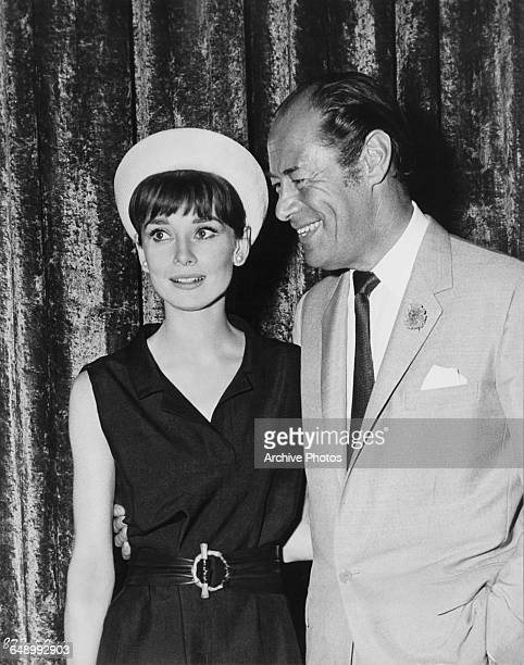 Actors Audrey Hepburn and Rex Harrison at Warner Brothers Burbank Studios in California before the start of filming on George Cukor's musical 'My...