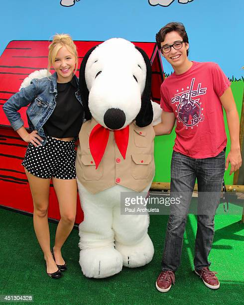 Actors Audrey Whitby and Joey Bragg attend Camp Snoopy's 30th anniversary VIP party at Knott's Berry Farm on June 26 2014 in Buena Park California