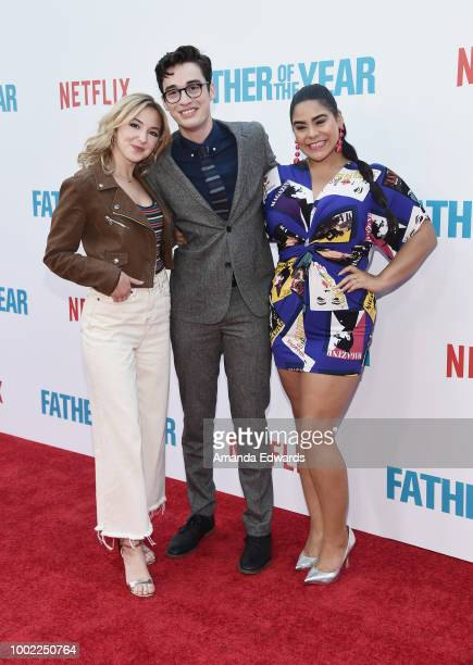 Actors Audrey Whitby Joey Bragg and Jessica Marie Garcia arrive at a special screening of Netflix's 'Father Of The Year' at ArcLight Hollywood on...