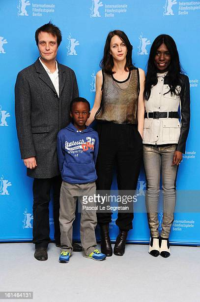 Actors August Diehl director Pia Marais Rayna Campbell and Rapule Hendricks attend the 'Layla Fourie' Photocall during the 63rd Berlinale...