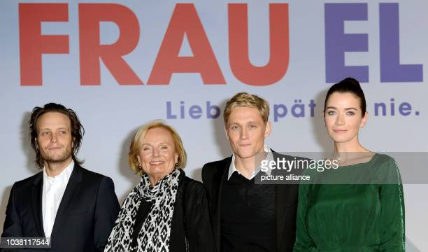 Actors August Diehl RuthMaria Kubitschek Matthias Schweighoefer and Anna Bederke arrive to the premiere of the movie 'Frau Ella' in Berlin Germany 08...