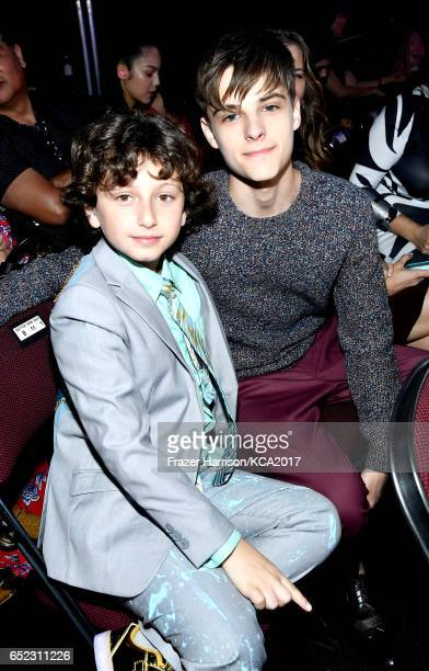Actors August Maturo and Corey Fogelmanis in the audience at Nickelodeon's 2017 Kids' Choice Awards at USC Galen Center on March 11 2017 in Los...