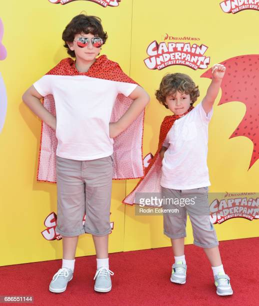 Actors August Maturo and Ocean Maturo attend the premiere of 20th Century Fox's 'Captain Underpants The First Epic Movie' at Regency Village Theatre...