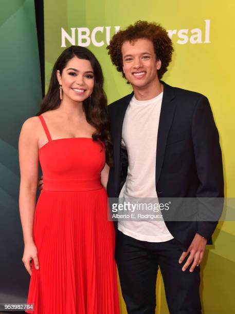 Actors Auili'i Cravalho and Damon J Gillespie attends NBCUniversal's Summer Press Day 2018 at The Universal Studios Backlot on May 2 2018 in...
