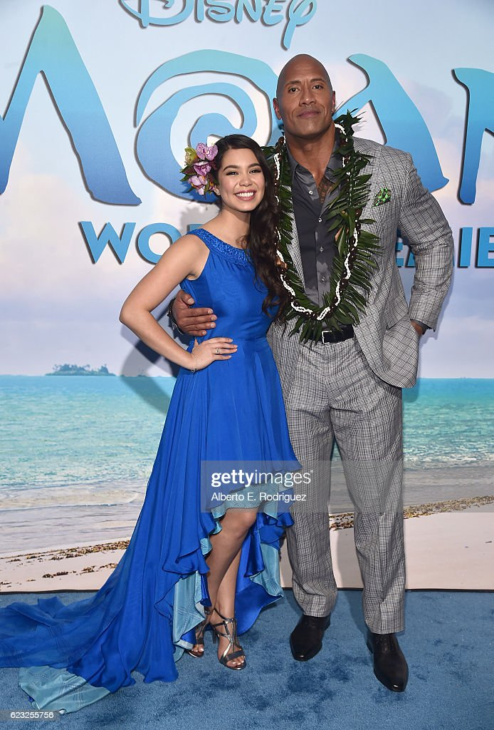 Actors Auli'i Cravalho (L) and Dwayne Johnson attend The World Premiere of Disney's 'MOANA' at the El Capitan Theatre on Monday, November 14, 2016 in Hollywood, CA.