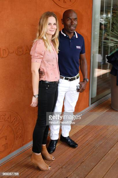 Actors Aurelie Nollet and Lucien JeanBaptiste attend the 2018 French Open Day Seven at Roland Garros on June 2 2018 in Paris France