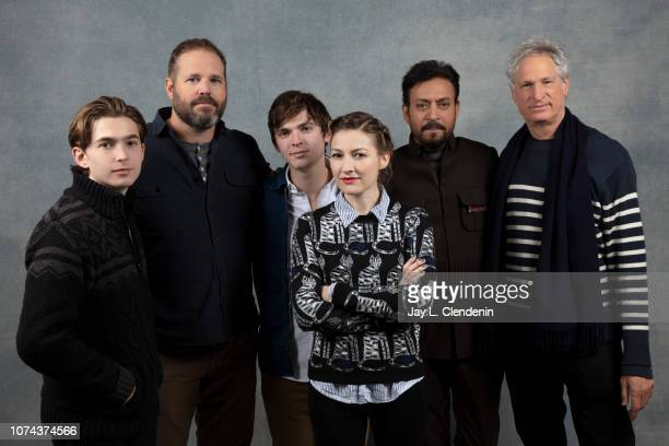 """Actors Austin Abrams, David Denman, Bubba Weiler, Kelly Macdonald, Irrfan Khan and Marc Tutrletaub from """"Puzzle"""" are photographed for Los Angeles..."""