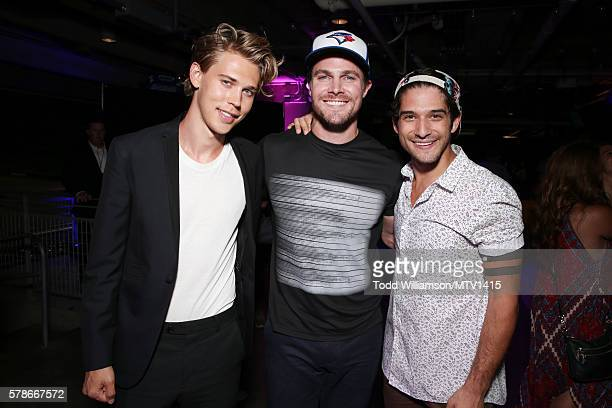 Actors Austin Butler and Stephen Amell with Host Tyler Posey attend the MTV Fandom Awards San Diego at PETCO Park on July 21 2016 in San Diego...