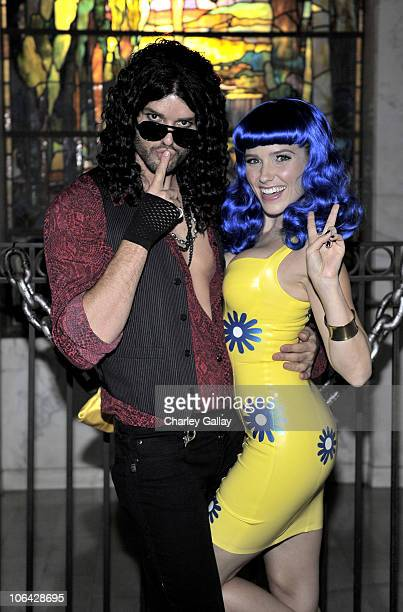 Actors Austin Nichols and Sophia Bush attend Maroon 5's Halloween Bash presented by Bacardi at Hollywood Forever Cemetery on October 31 2010 in...