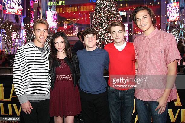 Actors Austin North Ryan Newman Jake Short Dylan Riley Snyder and singer Dylan Rouda attend the KOST 1035's ChristmasLand Festival and Concert Series...