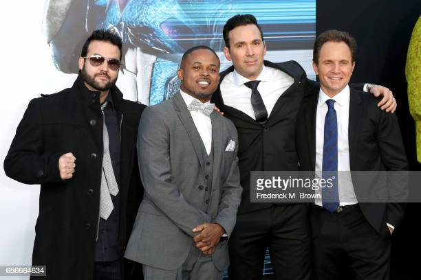 Actors Austin St John Walter Jones Jason David Frank and David Yost at the premiere of Lionsgate's 'Power Rangers' on March 22 2017 in Westwood...