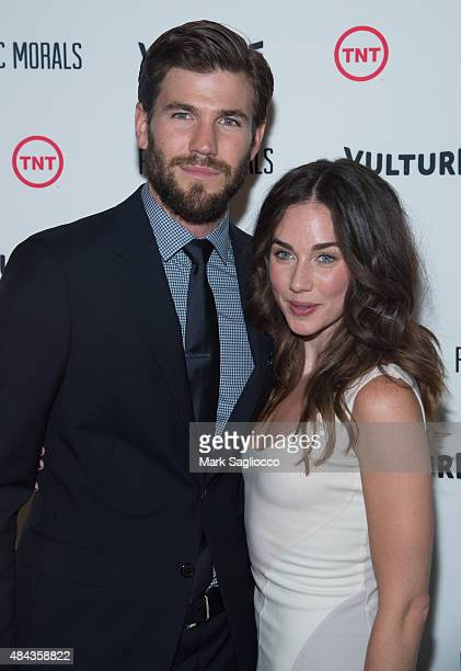 Actors Austin Stowell and Lyndon Smith attend the Public Morals New York Screening at the Tribeca Grand Screening Room on August 12 2015 in New York...